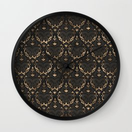 Persian Oriental Pattern - Black Leather and gold Wall Clock