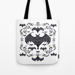 Bats and Filigree - Black and White Tote Bag