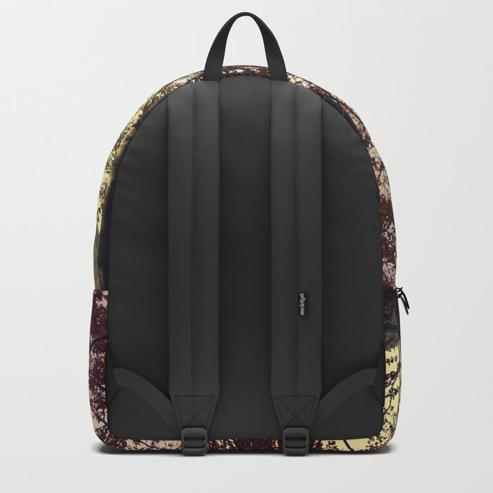 Forest in the colors of autumn. Backpack