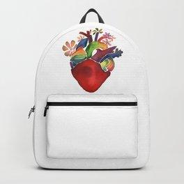 Rainbow red watercolor bloom heart Backpack