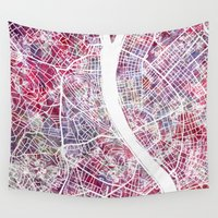 budapest Wall Tapestries featuring Budapest map by MapMapMaps.Watercolors