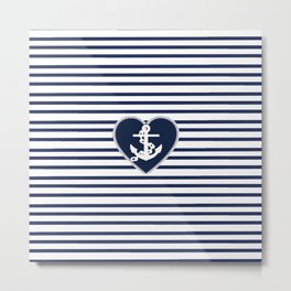 Modern navy blue white heart anchor nautical stripes Metal Print