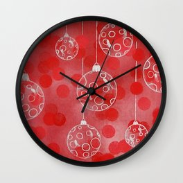 Christmas Balls in Silver / Acrylic & Oil Painting Wall Clock