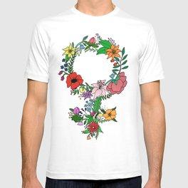 Feminist flower in color T-shirt