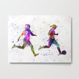 Girls playing soccer football player silhouette Metal Print