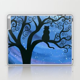 Meowing at the moon - moonlight cat painting Laptop & iPad Skin