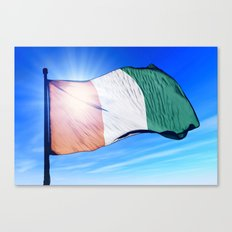 Cote d'Ivoire flag waving on the wind Canvas Print