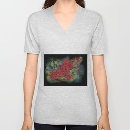 The flowering quince . Black background Unisex V-Neck
