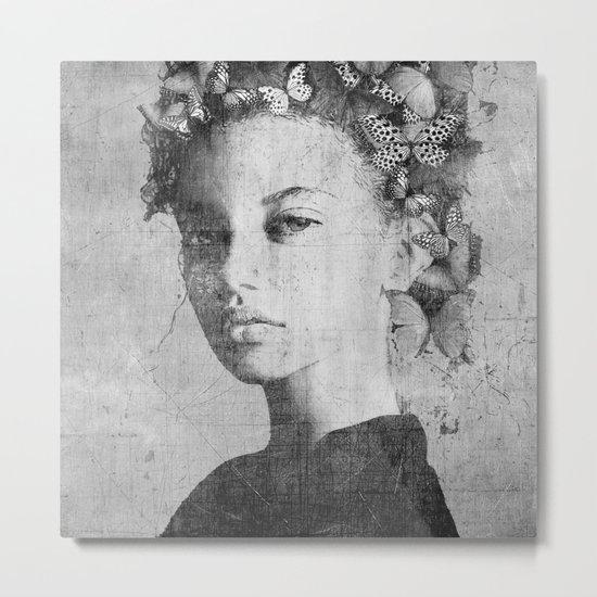 PORTRAIT (Woman with butterflies) Metal Print