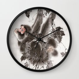 Monkey Hanging from Grapevines Wall Clock