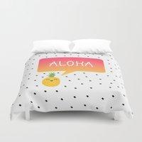 aloha Duvet Covers featuring Aloha by Elisabeth Fredriksson