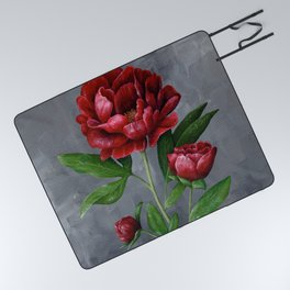 Red Peony Flower Painting Picnic Blanket