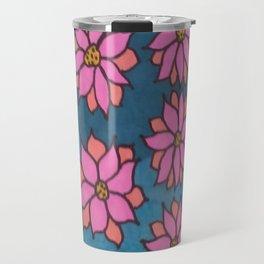 Pink and Blue Dahlia Print Travel Mug
