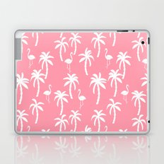 Tropical flamingo and palm trees pattern by andrea lauren cute illustration summer patterns pink Laptop & iPad Skin