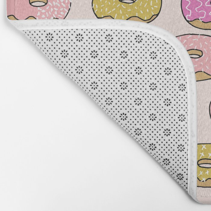 Donuts pattern pink doughnut cute food print by andrea lauren Bath Mat