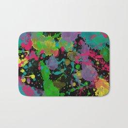 Paint Splatter on Black Background Bath Mat