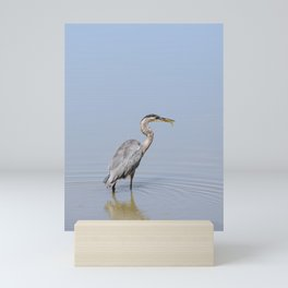 Great Blue Heron Fishing - II Mini Art Print