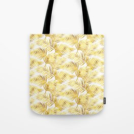 Palm Leaves_Gold and White Tote Bag