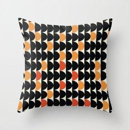 MidPacs - Mid Century Modern Geometric Abstract Circle Pattern- Black Orange Red Throw Pillow
