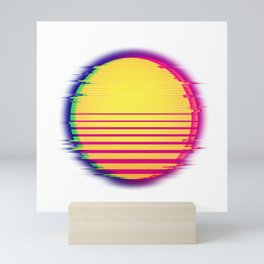 Vaporwave Sun Disc Retro Glitch Art 80's 90's Aesthetic Mini Art Print
