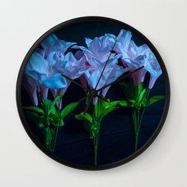 pink and blue flowers on black Wall Clock