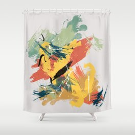 Intuitive Conversations, Abstract Mid Century Colors Shower Curtain