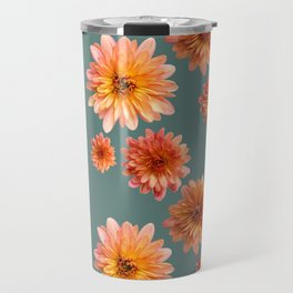 Coral Mum Floral Pattern - Scattered Flowers on Teal - Chrysanthemum Bloom Pattern - Real Flowers Travel Mug