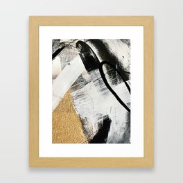 Armor [9]: a minimal abstract piece in black white and gold by Alyssa Hamilton Art Framed Art Print