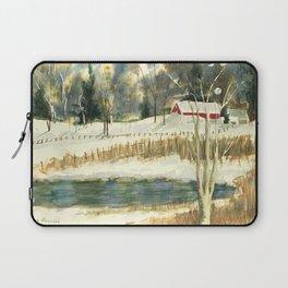 Hibernation // Winter Landscape Watercolor Painting // Farm Life Laptop Sleeve