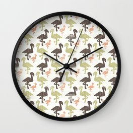 Green Brown and Pink Nature Flamingo Silhouette Wall Clock