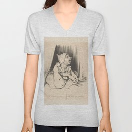 """Honoré Daumier """"Man in bed with love letter: Elle m'aime toujours - She loves me always"""" Unisex V-Neck"""