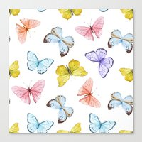 Canvas Prints featuring Butterfly Pattern 04 by Aloke Design