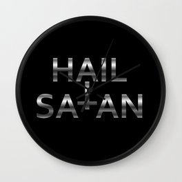 Hail Satan- Silver Antichrist quote with occult symbol Wall Clock