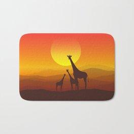 Giraffe Family Sunset Bath Mat