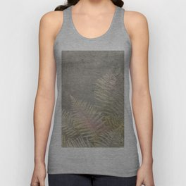 Fossil Rose Gold Fern on Brushed Stone Unisex Tank Top