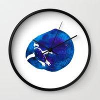 swim Wall Clocks featuring Swim  by Bekka Kate Art