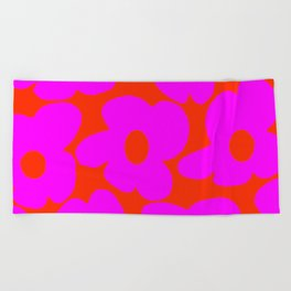Pink Retro Flowers Orange Red Background #decor #society6 #buyart Beach Towel