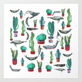 Cactus and Whales Art Print