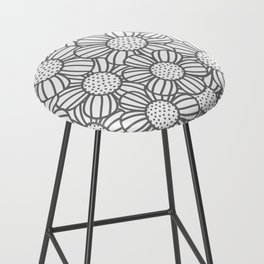 Field of daisies - gray Bar Stool