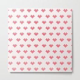 Watercolour Pixel Hearts in Red Metal Print