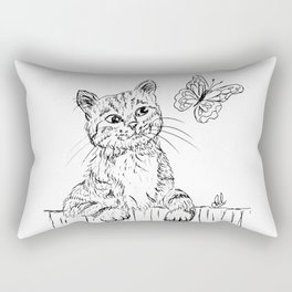 Kitty and butterfly Rectangular Pillow