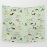 iceland Wall Tapestries featuring Green Iceland by Emma Jansson