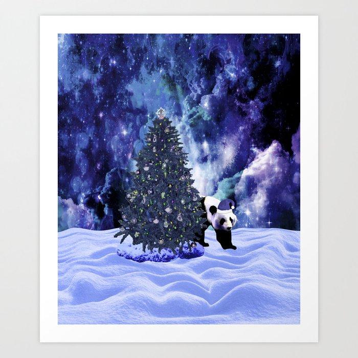 Panda's Christmas Holiday at the North Pole Art Print