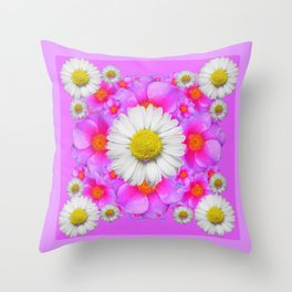 Lilac Fuchsia Rose Bouquet Garden Shasta Daisies Art Throw Pillow