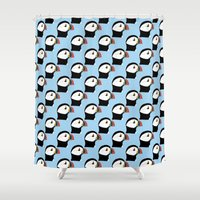puffin Shower Curtains featuring Puffin by stephpiddillustration