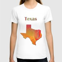 texas T-shirts featuring Texas Map by Roger Wedegis
