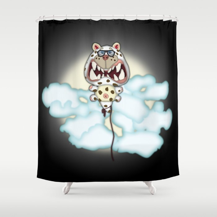 Funny Scared White Cat Balloon With Glasses Shower Curtain