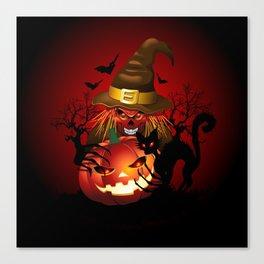 Skull Witch Creepy Halloween Canvas Print
