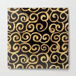 Gold Swirls on Black Background Metal Print