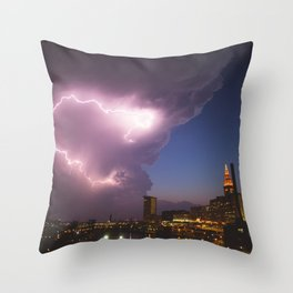 Storm Approaches Cleveland Throw Pillow